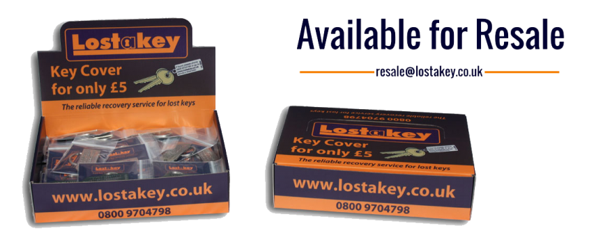 lostakey keyfobs in a branded box